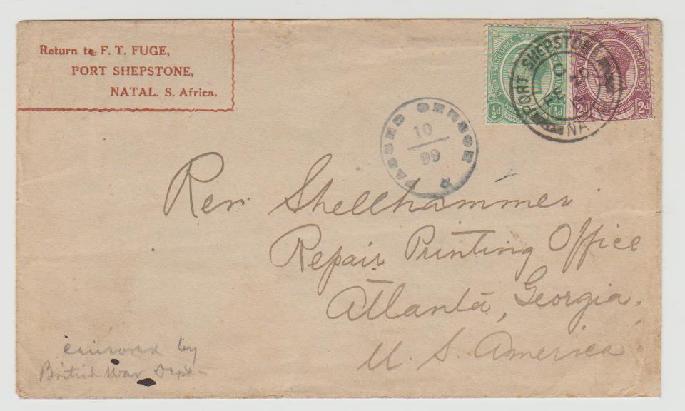 South Africa (Natal) to USA 1919 censored