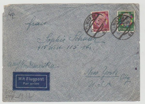 1941 Austria to New York censored 1941