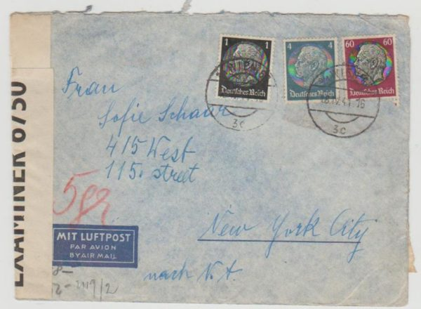 Austria to New York censored 1941