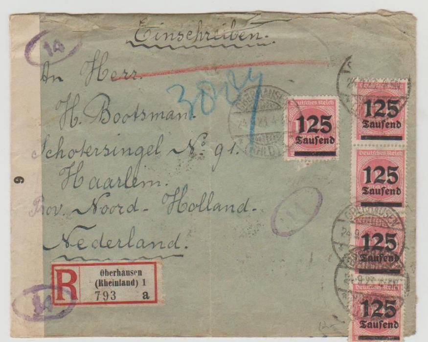 1923 German inflation registered envelope to Holland