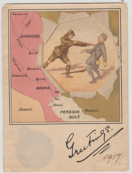 1917 propaganda card (British soldier & Turk)