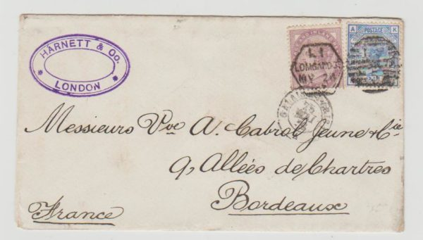 1883 GB to France with Late Fee datestamp