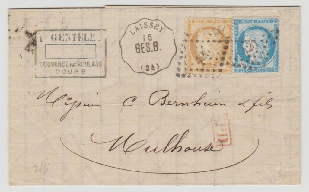 France-Alsace Railway cancel 1875