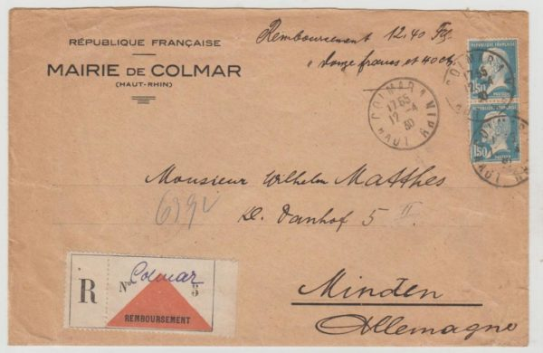 France Alsace-Lorraine Official Registered 1930