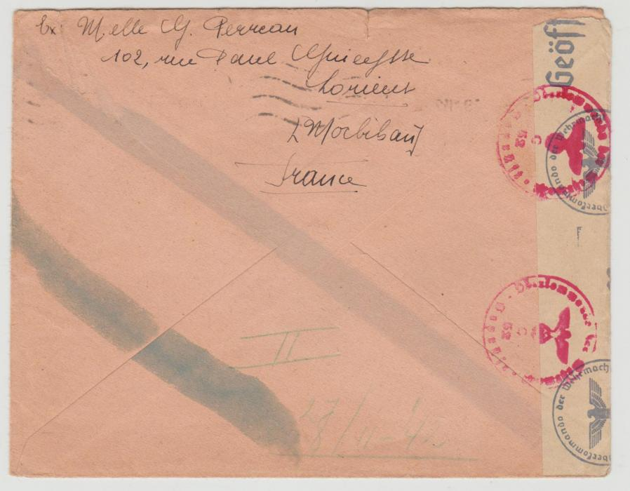 France WW2 3 Covers with 'blue stripe' censor