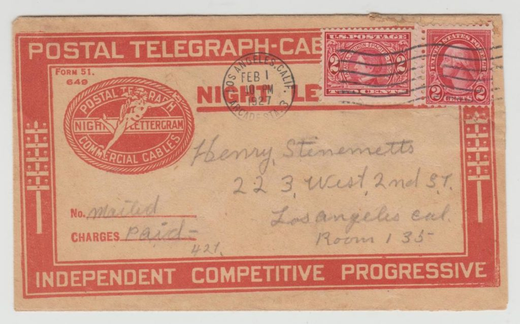 USA Night Letter Sheet telegram 1927