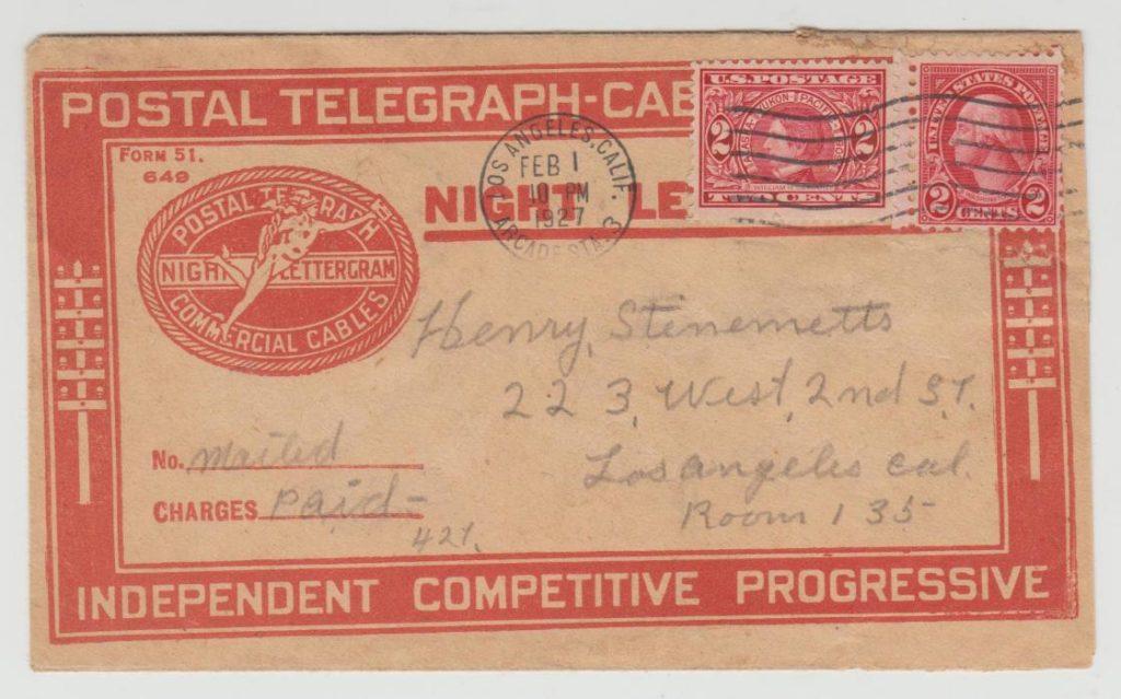 USA Night Letter Sheet telegram 1927