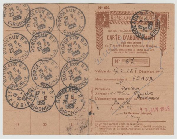 France stamp subscription form 1955