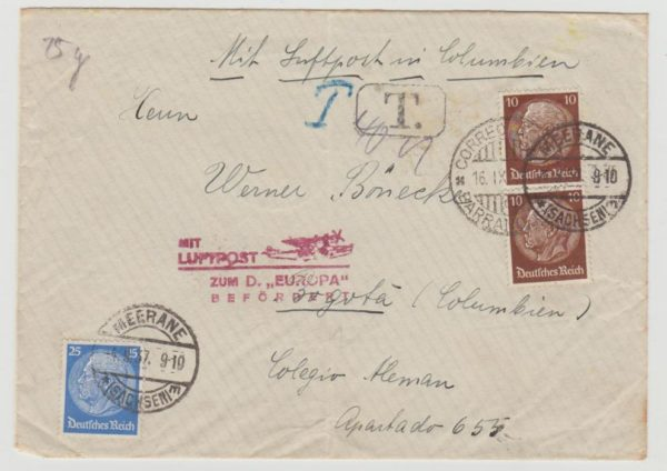 German airmail to Colombia