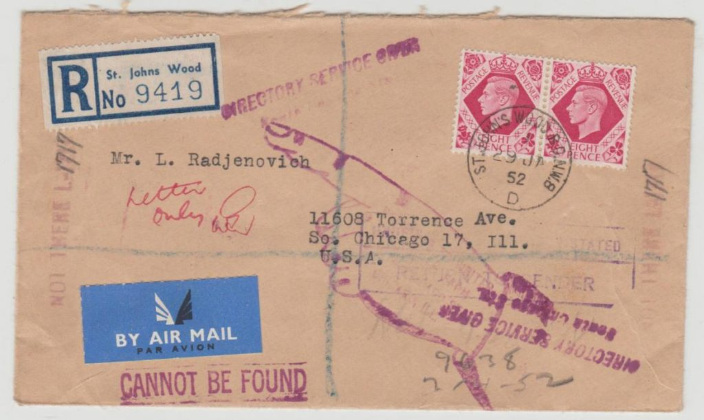 GB to USA Not Found 1952