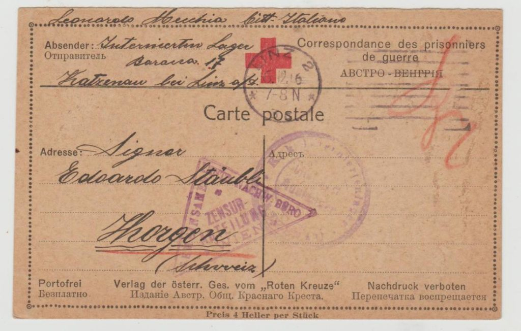 Austria Red Cross internment card 1916