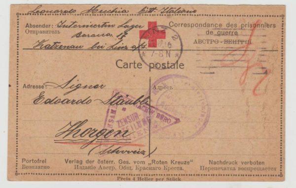 Austria Red Cross internment card 1916