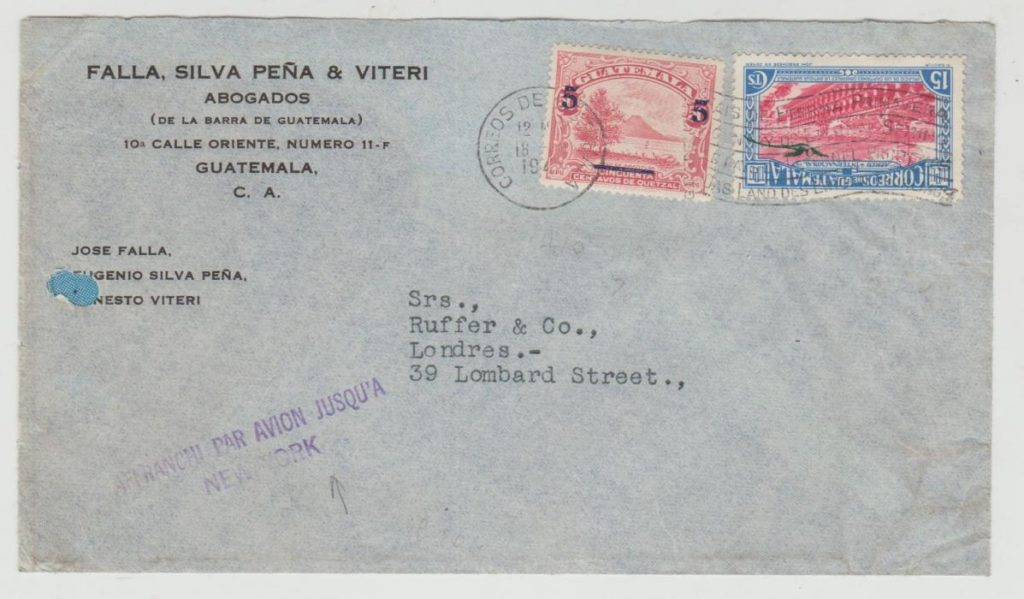 Guatemela 'Jusqu'a' mark to New York 1944