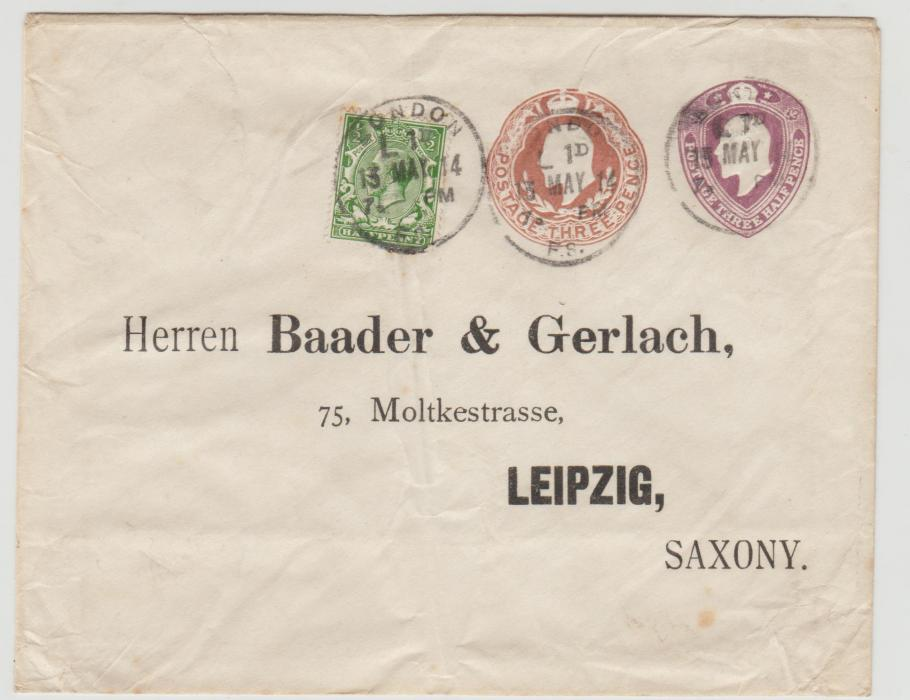 GB KE7 envelope to Saxony 1914