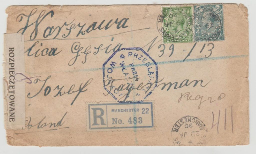 GB Polish censor cachet & seal 1920