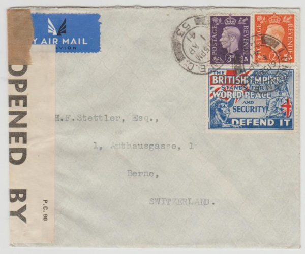 GB to Berne 1941 censored + label
