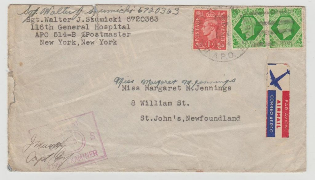 GB to Newfoundland 1943 censored