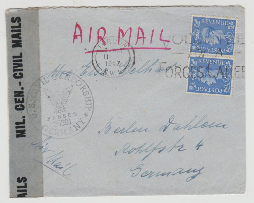 GB to Germany 1947 censored civil mail