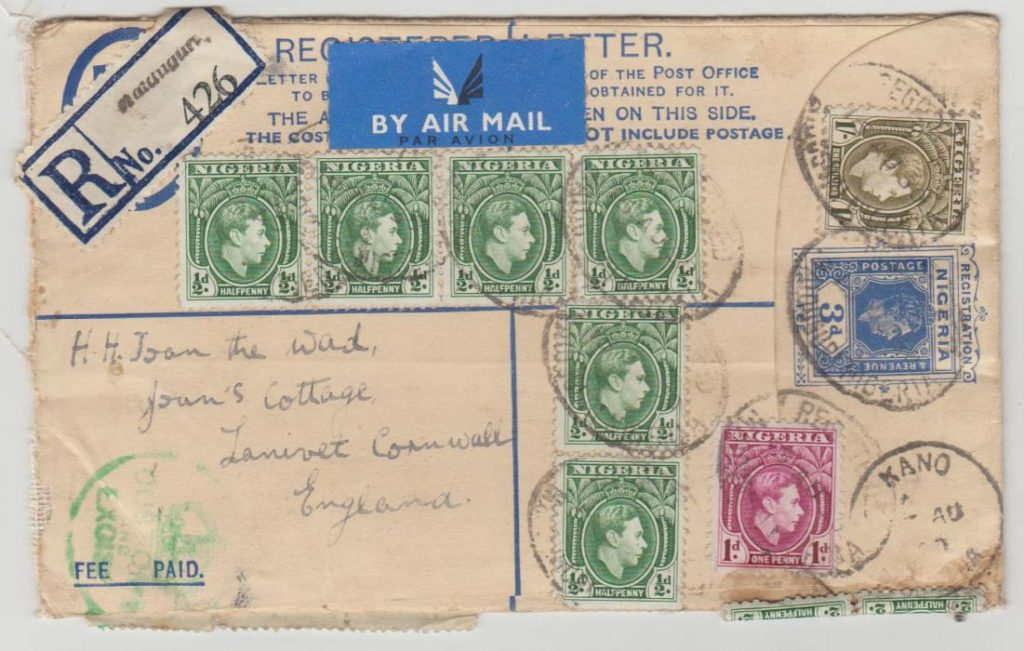 Nigeria registered airmail 1950