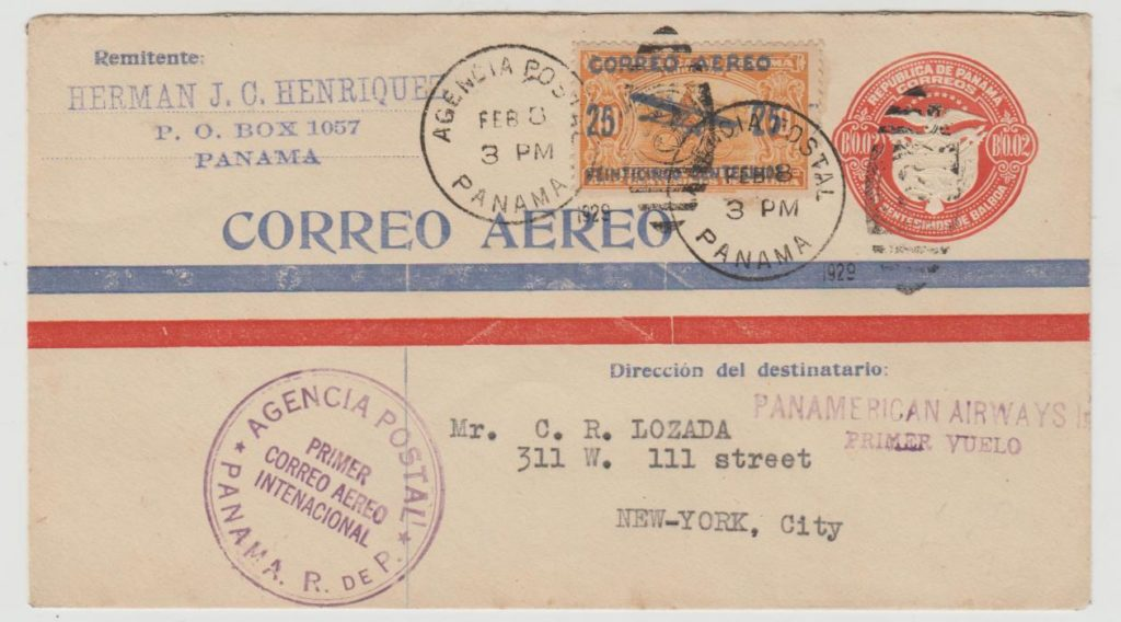 Panama first flight to New York 1929