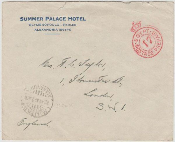 Egypt hotel envelope to London