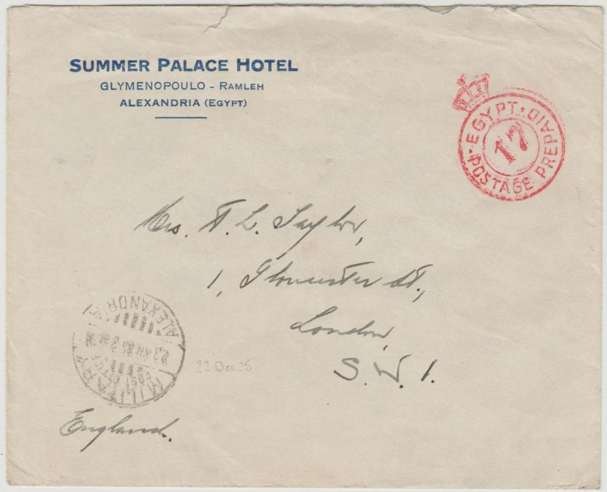Egypt hotel envelope to London